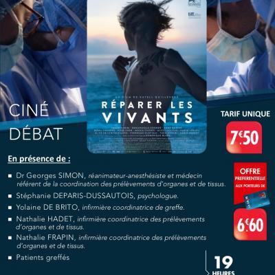[CINE-DEBAT] sur le don d'organes autour du film « réparer les vivants » lundi 17 juin.