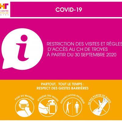Restriction des visites et règles d'accès au CH de Troyes à compter du mercredi 30 septembre