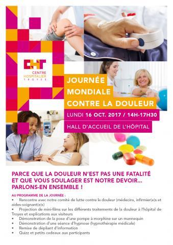 Journée mondiale contre la douleur lundi 16 octobre 2017 au CH de Troyes
